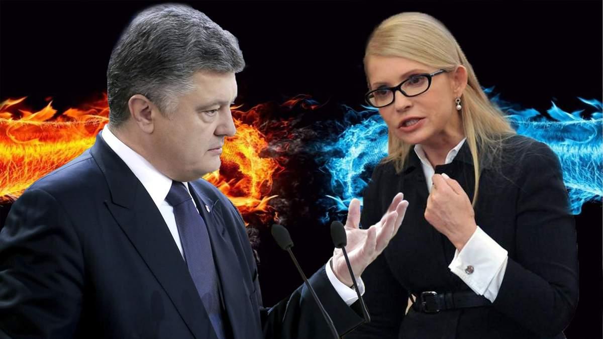 """Горячий """"батл"""": как Тимошенко и Порошенко критиковали друг друга в Давосе"""